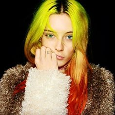 Chloe Noorgard's  yellow and red ombre hair