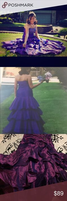 Purple flower dress Worn once and great condition & Other Stories Dresses Strapless