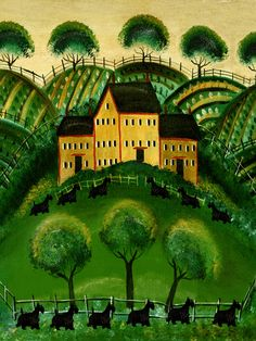 Country House of Scottie Dogs Artist Cheryl Bartley Image No. Dog Artist, Naive Art, Illustrations, Westies, Cute Animals, Rug Inspiration, Scottie Dogs, Scottish Terriers, Country
