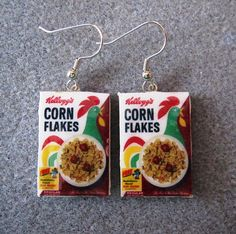 Kellogg's Cornflakes 1970s Cereal Retro Kitsch Dangle Polymer Clay Junk Food Earrings Hypo Allergenic Nickle-Free on Etsy, $15.00