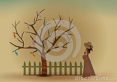Pregnant Woman Wish Tree Creative Art Design