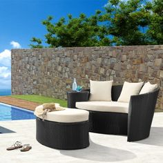 Zuo Modern Curacao Espresso Bed and Ottoman #outdoor #patio #desk #lounge #party #furniture #pool #summer