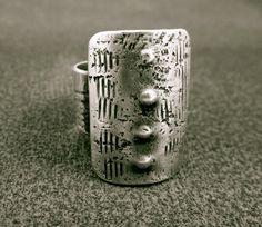 Sheild.  Bronze ring industrial talisman grunge rock by beatnheart