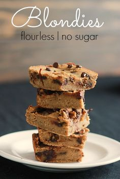 flourless, no sugar blondies made with chickpeas and sweetened with dates, 150 calories each, 5 fiber, 13 net carbs, 6 protein.  #coconutalmondrecipes