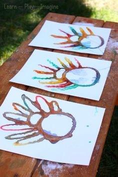 Process based turkey art for kids - Absorption art combining art and science! Glue covered in Salt absorbs the colors.