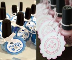 Boy or girl themed baby shower favors ..using blue or pink OPI nail polish .. just add a fun tag! Super easy and cute :)