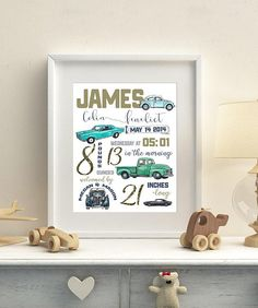 Vintage Car Nursery Birth stats Birth details Automobile birth Announcement Baby gift Classic Cars New baby Personalized Keepsake Car Themed Nursery, Boy Nursery Cars, Vintage Car Nursery, Truck Nursery, Nursery Themes, Nursery Room, Nursery Ideas, Room Ideas, Boy Car Room