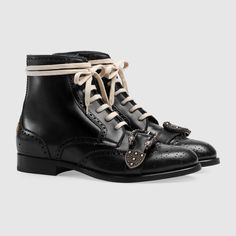 """Gucci Queercore Brogue Boot in Black Leather with Leather Sole, Lace-Up Closure, and a Tiger Head Buckle. 0.75"""" Heel Height. Made In Italy. From Gucci Online. #Gucci #QueercoreBrogueBoot #GucciBoot"""