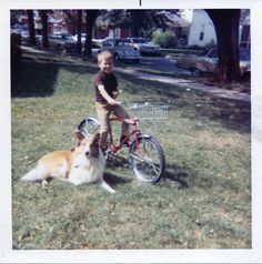 Here is a lovely collection of color snapshots capturing kids with their bicycles 50 years ago. Dancer In The Dark, The Darkest, 1960s, Corgi, Childhood, Bicycles, Kids, Animals, Vintage