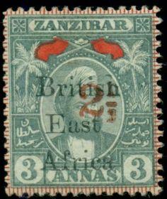 BRITISH-EAST-AFRICA- #100-2-1-2a-on-Zanzibar-3a-type-c-overprint-og-hinged, $100 buy it now