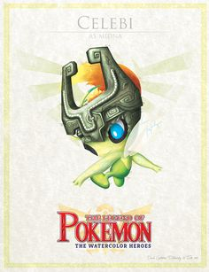 """Celebi - pxlbyte: """" The Legend of Pokemon Graphic designer David Pilatowsky is the man behind these Pokemon - Legend of Zelda mashups. These were of my favourites, you can find the multi-part gallery here. """""""