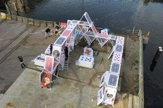 Giant House of Cards installation, Amsterdam. (LP)