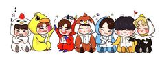 Got 7 Wallpaper, Chibi Characters, Fictional Characters, Cinderella And Four Knights, Got7 Meme, Got7 Fanart, Korean Language Learning, Bts Chibi, Flower Boys
