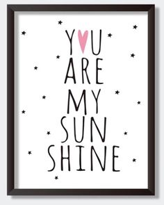 Poster canvas You are my sunshine roze 30x40