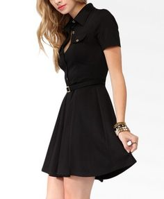 Metallic Button Shirtdress w/ Belt | FOREVER 21 - 2000049576