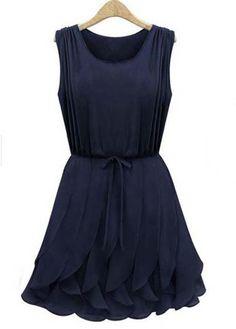 Hot Sale Round Neck Sleeveless Blue Pleated Dress