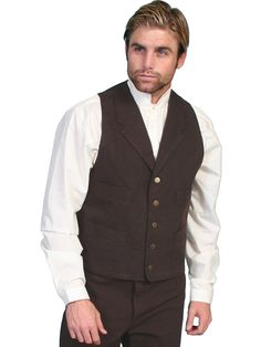 Scully Rangewear Mens Walnut 100% Cotton Canvas Western Vest