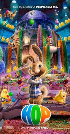 Directed by Tim Hill.  With Russell Brand, James Marsden, Elizabeth Perkins, Kaley Cuoco-Sweeting. E.B., the Easter Bunny's teenage son, heads to Hollywood, determined to become a drummer in a rock 'n' roll band. In LA, he's taken in by Fred after the out-of-work slacker hits E.B. with his car.