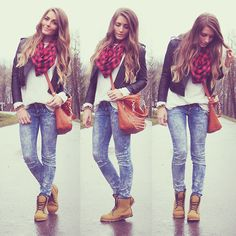 Lace flat boots, jeans, long sleeve shirt, leather jacket, a colorful scarf, and a crossbody bag.