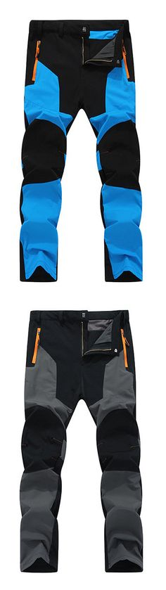 Mens Outdoor Durable Soft Shell Water-repellent Breathable Stitching Color Sport Pants