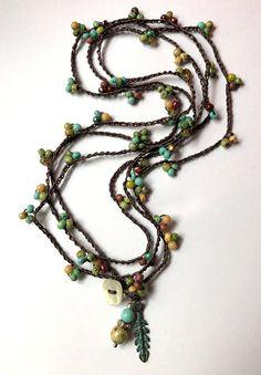 Aqua e marrone in rilievo crochet boho bracciale / collana