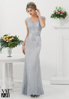 Mori Lee VM 71116 Cap Sleeves Bead Accents Button Closure - Fit and Flare, V Neck