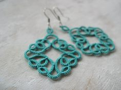 Handmade tatted earrings Teal color by SouffleShop on Etsy, $20.00