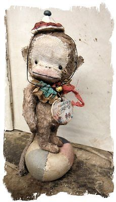 NEW-DESIGN-Lil-Antique-MONKEY-vintage-Old-ToY-Munki-CIRCUS-Whendis-Bears - made by Me....  My Newest Original Design...