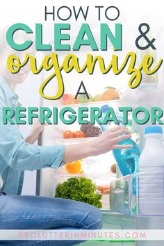Tired of throwing away rotten and spoiled food? Clean and organize a refrigerator step by step so youc an stop wasting money at the grocery store. Clean Refrigerator, Refrigerator Organization, Organization Hacks, Freezer Organization, Organizing Ideas, Kitchen Organization, Cleaning Checklist, House Cleaning Tips, Cleaning Hacks