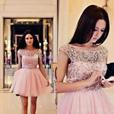 Wholesale Graduation Dresses - Buy Modest Crystal Cap Sleeve Pink Tulle Semi Formal Cocktail Homecoming Dresses 2014 Short Prom Party Gowns Best Selling, $105.55 | DHgate