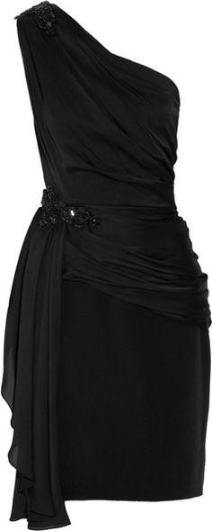 Embellished One-shoulder Satin-chiffon Dress