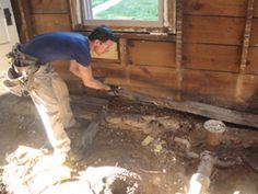 By Mark Clement Removing and Replacing a Rotten Sill Plate. A rotten sill plate is a common occurrence in old houses—and a Home Renovation, Home Remodeling, Shed Floor, Wood Repair, Foundation Repair, Home Fix, Home Repairs, Home Improvement Projects, Old Houses