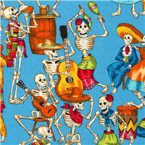 blue Alexander Henry fabric with skeletons celebrating