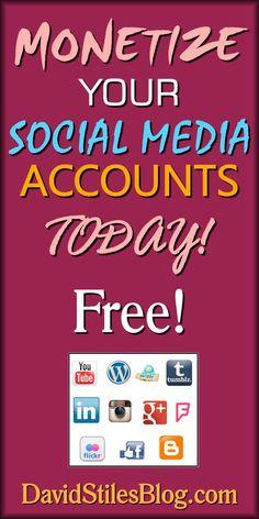 Monetize your social media accounts. Make money on YouTube, Twitter, Linkedin, Tumblr, Facebook, Instagram, Blogger and more. From DavidStilesBlog.com