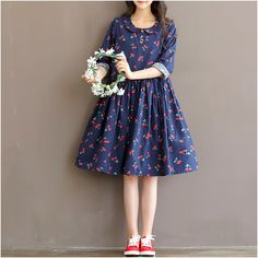 Sweet cherry print dress