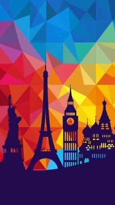Art creative multicolor city paris london new york travel hd iphone 6 wallpaper Wallpaper Para Iphone 6, Geometric Wallpaper Iphone, Travel Wallpaper, Galaxy Wallpaper, Cool Wallpaper, Mobile Wallpaper, Wallpaper Backgrounds, Paris Wallpaper, Wallpapers Whatsapp