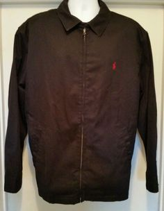 Polo Ralph Lauren Men's Zipper Jacket 100% Cotton, Black size 2 LT Tall #PoloRalphLauren #BasicJacket