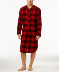 943eeae9a0 Polo Ralph Lauren Men s Plaid Flannel Pajama Nightshirt - Franklin Red XL  Mens Nightshirts