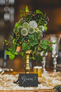 Unique green centerpiece- love this | A Romantic Secret Garden Inspired Wedding