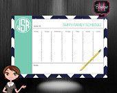 Monogrammed Weekly Desk Calendar - Personalized Desk Calendar -Planner - Custom Calendar