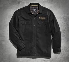 Retro, with an edge. | Harley-Davidson Distressed Skull Shirt Jacket