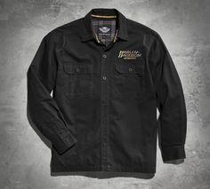 Retro, with an edge. | Harley-Davidson Distressed Skull Shirt Jacket