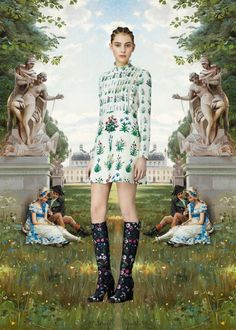 """PRE-FALL 2015 COLLECTION VALENTINO COLLABORATED WITH BRITISH TEXTILE DESIGNER CELIA BIRTWELL AND ITALIAN POP ARTIST GIOSETTA FIORONI. BIRTWELL CONTRIBUTED FLORAL PRINTS AND EMBROIDERIES INSPIRED BY SANDRO BOTTICELLI'S LA PRIMAVERA, AND FIORONI DESIGNED A HEART MOTIF STITCHED WITH THE PHRASE """"YOUR EYES ARE THE EYES OF A WOMAN IN LOVE""""."""
