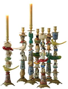Found Object Candlestick Chandeliers, Diy And Crafts, Arts And Crafts, Found Object Art, Assemblage Art, Recycled Art, Repurposed, Ceramic Art, Candlesticks