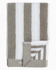 A guest towel made of thick cotton terrycloth; each side has stripes in different widths. Pattern: Kaksi raitaa Pattern Designer: Kristina IsolaMaterial: 100 % Cotton Size: 30 cm x 50 cm ( x ) Color: grey, white