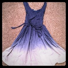 Striped A-Line Sleeveless Dress Ombré blue striped dress! Full bottom! So cute on!! Worn a few times. Zips on side and ties on front. Tie is attached so it will never fall off! Converse Dresses Midi