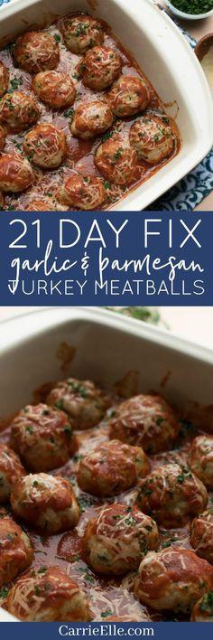 21 Day Fix Garlic Parmesan Turkey Meatballs (gluten-free)