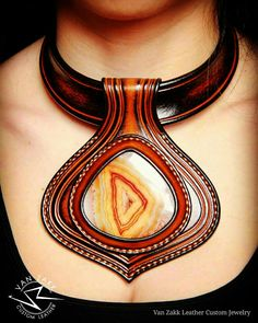 Van Zakk leather Custom unique necklace with natural stone agate