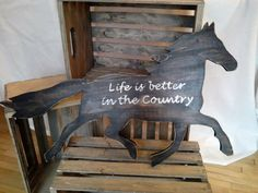 26 x 24 reclaimed wood running horse sign by Western Wall, Running Horses, Wood Wall Art, Outdoor Furniture, Outdoor Decor, Life Is Good, Sign, Country, Creative