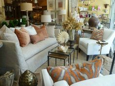 Slipcovered couch & side chair